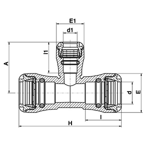 MDPE pushfit 90° reducing tee diagram